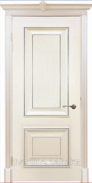 """Двери межкомнатные из массива сосны """"ДЛ 250 Крем Серебро ПГ"""""""