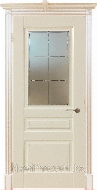 """Двери межкомнатные из массива сосны """"ДЛ 255 Крем ПО"""""""