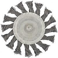 Щетка для дрели, 75 мм, плоская со шпилькой, крученая металлическая проволока // MATRIX