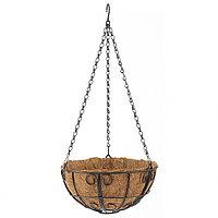 Кашпо подвесное с декором, диаметр 25 см, с кокосовой корзиной, PALISAD, 69005