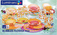 Столовый сервиз Luminarc Bubbles flower pink 52 предмета на 6 персон