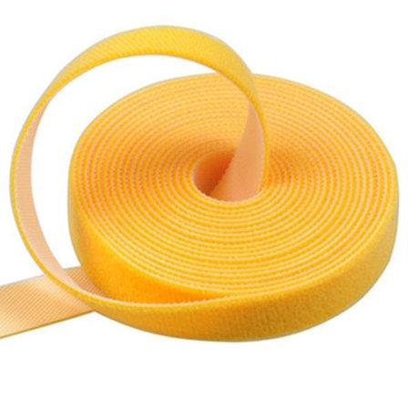 Многоразовая крепежная лента липучка Hook & Loop, цвет желтый (25 метров в рулоне), фото 2
