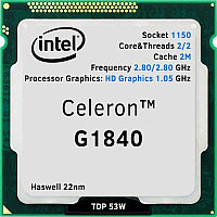 Intel 1150 Celeron G1840 Core/Threads 2/2, Cache 2M, Frequency 2.80/2.80 GHz, Processor Graphics: HD Graphics 1.05 GHz, TDP 53W, Haswell 22nm,