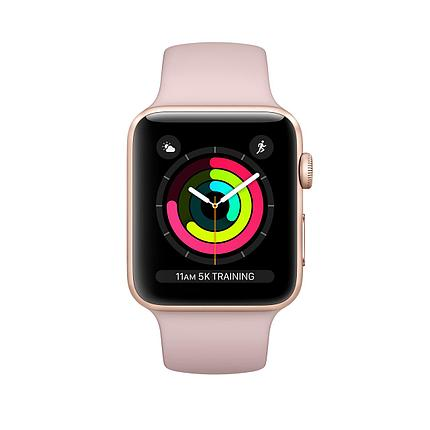 Apple  Watch 42 series 3 Gold Aluminum Case with Pink Sand Sport Band, фото 2