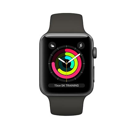 Apple Watch 38mm series 3 Space Gray Aluminum Case with Gray Sport Band, фото 2