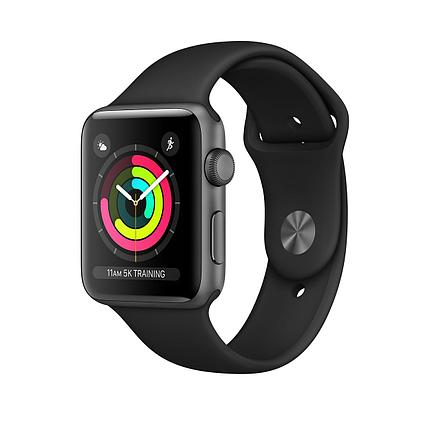 Apple Watch 42mm series 3 Space Gray Aluminum Case with Black Sport Band, фото 2