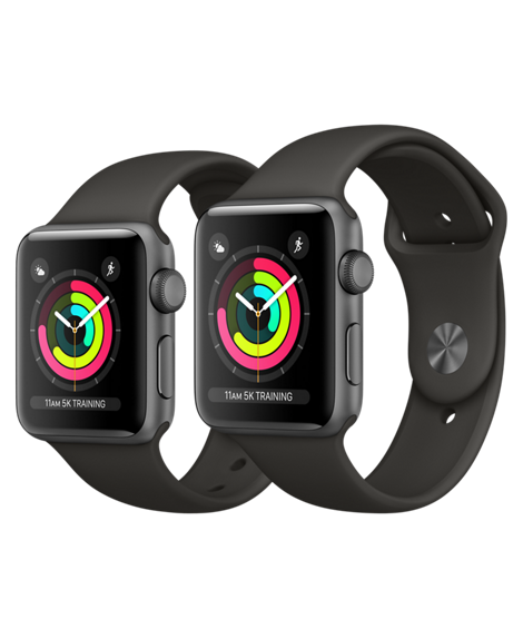 Apple Watch Series 3, 38 мм.  Корпус из алюминия цвета «серый космос», спортивный ремешок серого цвета