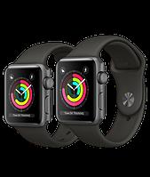 Apple Watch Series 3, 38 мм.  Корпус из алюминия цвета «серый космос», спортивный ремешок серого цвета, фото 1