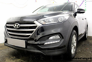 Защита радиатора Hyundai Tucson 2015- (Comfort, Travel, Prime) black низ