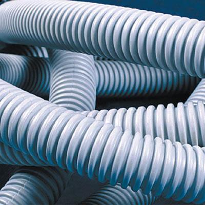 Труба ПВХ гибкая гофр. д.16мм, лёгкая с протяжкой, 50м, цвет серый