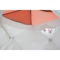 """Палатка """"Призма Люкс"""" 200, 3-слойная, с 2 входами, цвет бело-оранжевый, фото 2"""