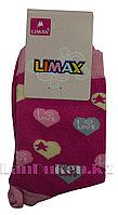 Детские носки Limax 31-34 ярко-розовые с сердечками