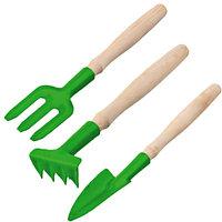 Набор РОСТОК для ухода за комнатными растениями с деревянными ручками: Вилка, грабельки, совок, 3 предмета