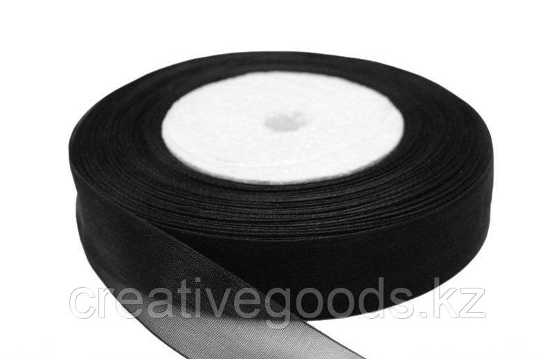 Лента органза (ширина 25 мм). Черная. Creativ 1805