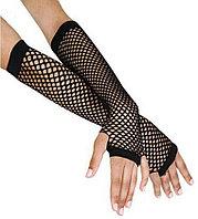 Перчатки Сетка длинные без пальцев (черные)