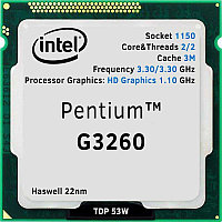 Intel 1150 Pentium G3260 Core/Threads 2/2, Cache 3M, Frequency 3.30/3.30 GHz, Processor Graphics: HD Graphics 1.10 GHz, TDP 53W, Haswell 22nm,