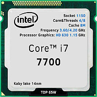 Intel 1151 Core i7-7700 Core/Threads 4/8, Cache 8M, Frequency 3.60/4.20 GHz, Processor Graphics: HD 630 1.15 GHz, TDP 65W, Kaby Lake 14nm, oem/tray