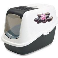 Био-Туалет для кошек Savic Nestor Impression с фильтром и рисунком  (бело-черный)