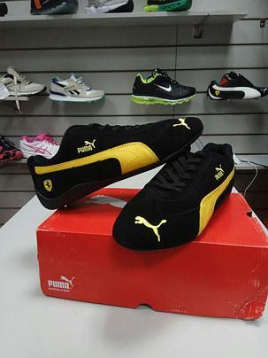 Кроссовки Puma Ferrari замшевые черно-желтые, фото 2