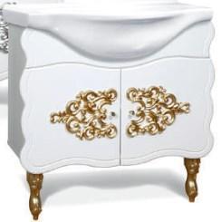 """Тумба под раковину """"Искушение"""" 85 см (белая,декор золото). Зеркало. Шкаф., фото 2"""