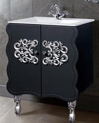 """Тумба под раковину """"Искушение"""" 85 см (черная,декор серебро). Настенное зеркало.Шкаф."""