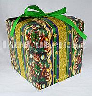 Подарочная новогодняя упаковка 13хh13 см (зеленая)