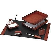 Набор руководителя настольный 6 предметов темно коричневый орех Delucci
