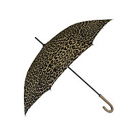 """Женский зонт-трость c принтом """"леопард"""", бежевый, полуавтомат"""