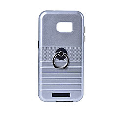 Чехол для Samsung Galaxy S7 Edge G935 back cover Motomo с кольцом plastic/gel Silver