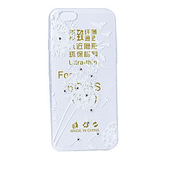 Чехол для Apple iPhone 6 back cover Flowers and birds gel Clear/White