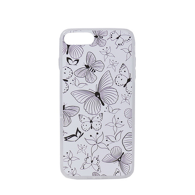Чехол для Apple iPhone 7 Plus back cover gel Butterfly cristals Black/White