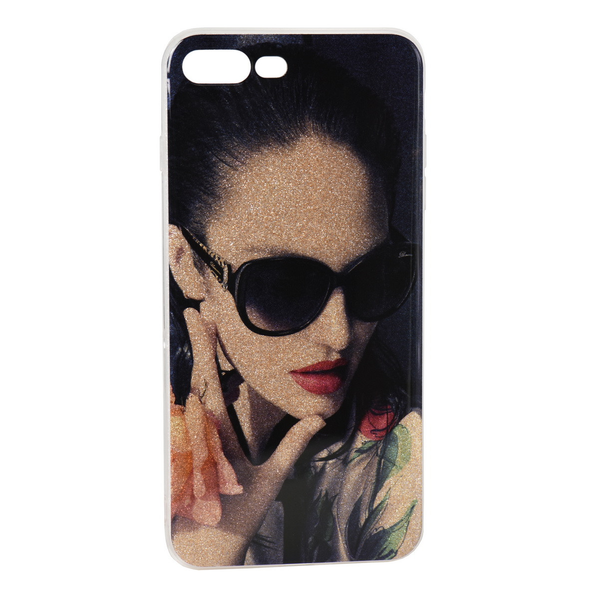 Чехол для Apple iPhone 7 Plus back cover Woman with glasses Shine Gel Black/Gold