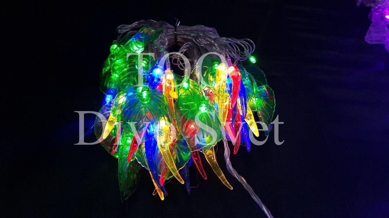 """Led гирлянда """"Нить декор с  Зелеными Листочками и Перцом"""" 8 м, прозрачный провод,мигает, не соединяется"""