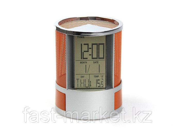 Настольный органайзер с часами оранжевый