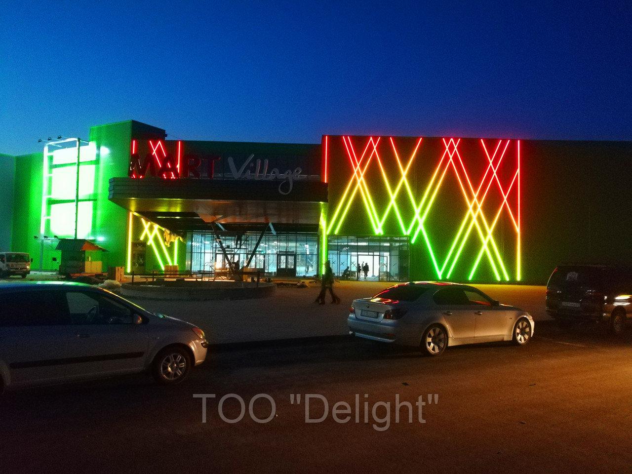 Подсветка здания с использование светодиодных трубок, линеек