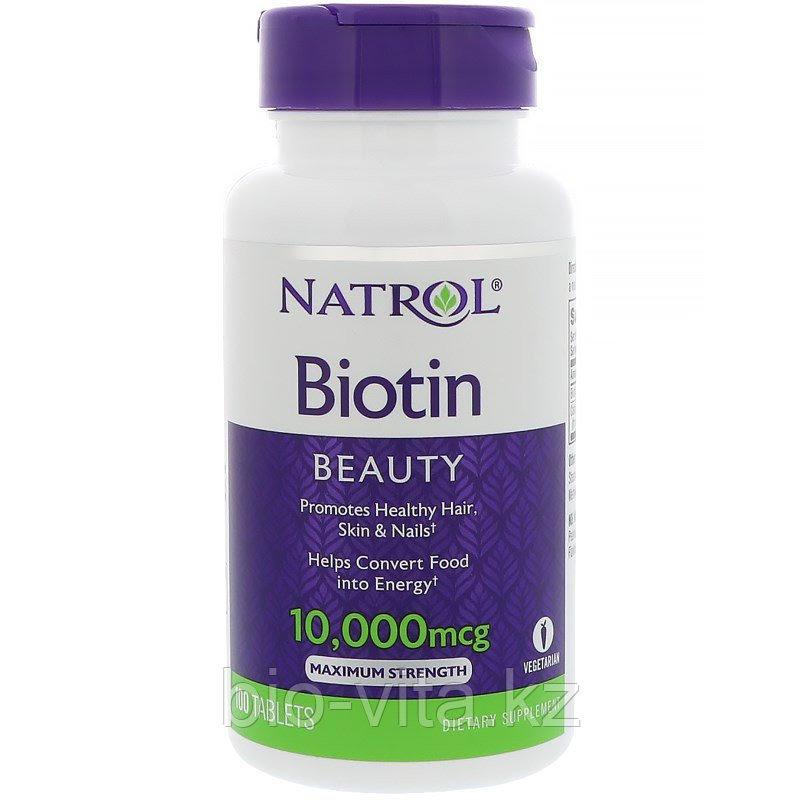 Биотин 10 000 мкг.. Natrol 100 таблеток.