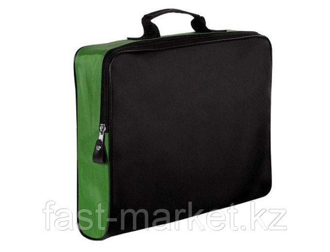 Конференц-сумка на молнии черно-зеленая