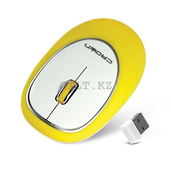Силиконовая беспроводная мышь Crown CMM-931W Yellow