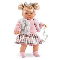 LLORENS Кукла малышка Изабель 33 см, блондинка в меховом жилете (звук)