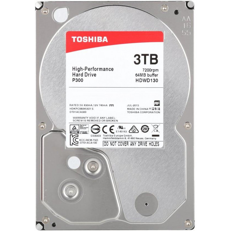 Жесткий диск HDD 3Tb TOSHIBA SATA 6Gb/s 7200rpm 64Mb 3.5""
