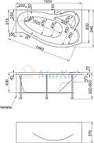 Акриловая ванна Грация 170*100 (Правая) (Полный комплект) Ассиметричная. Угловая, фото 2