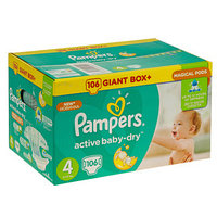 Подгузники Pampers Active Baby Maxi 8–14 кг, 106 шт
