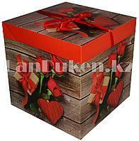 Подарочная упаковка 30х30 см (Макси) Букет роз и подарок