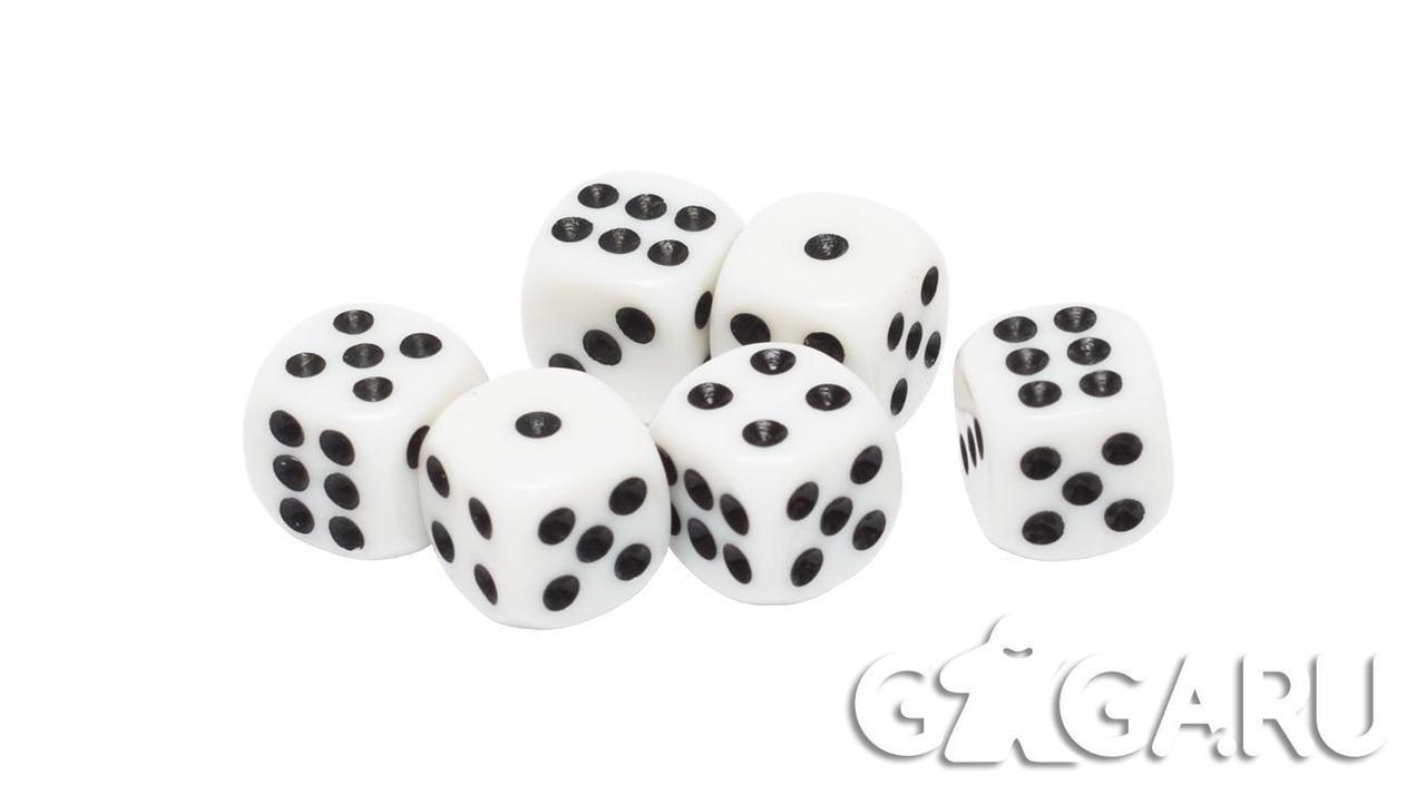 Кубик GaGa D6, 12мм белый