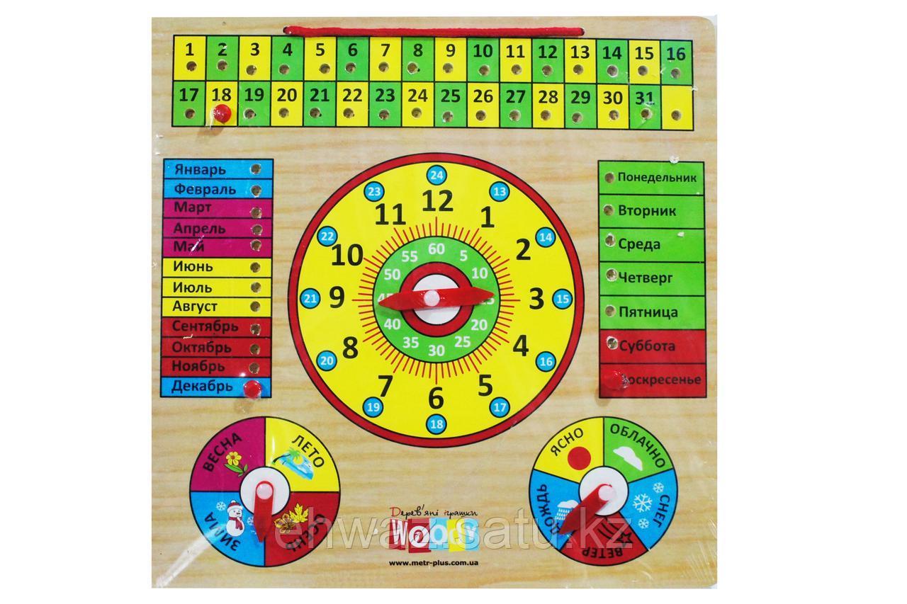 Детские обучающие деревянные часы - календарь