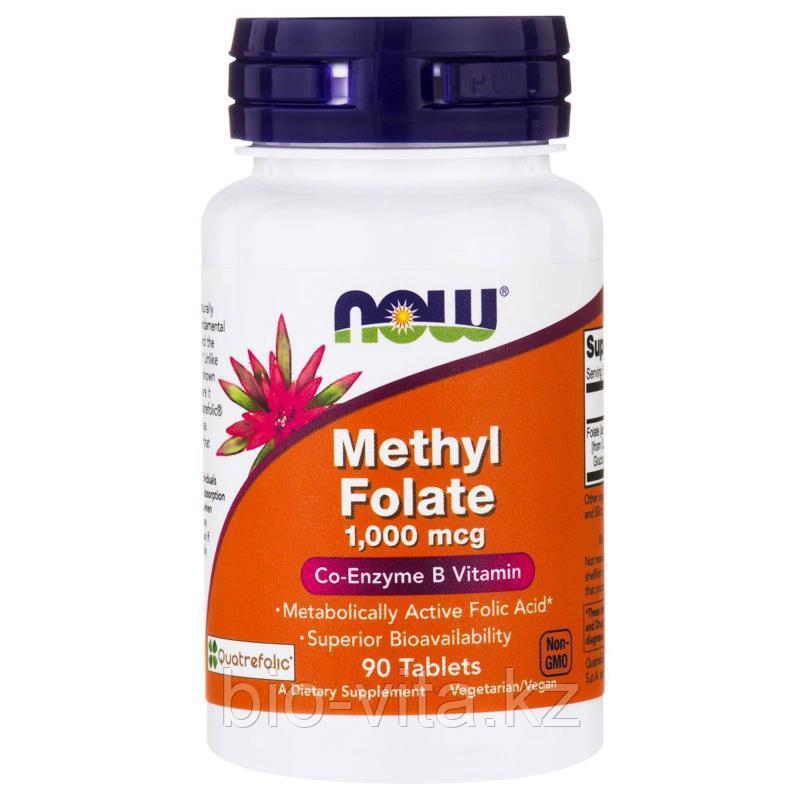 Now Foods,Метил Фолат(самая усвояемая форма фолиевой кислоты), 1,000мкг., 90 таблеток.