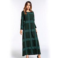 71bc45b2c12 Длинное платье большого размера бледно-зеленого цвета в большой квадрат