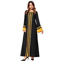 4916e018ff8 Арабское платье черного цвета с длинными рукавами и ярко желтым узором L