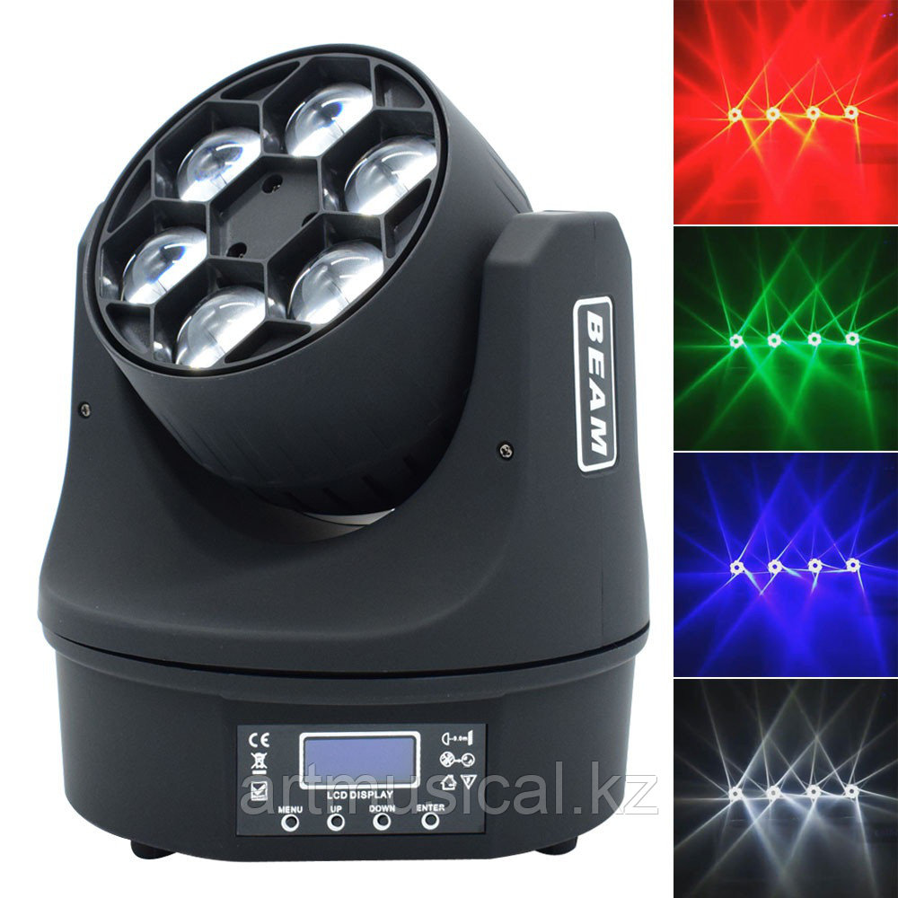 Светодиодная голова 6*15W Led Beam Moving Head Light RGBW Mini