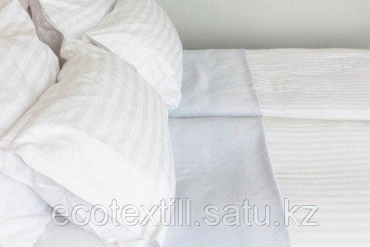 Постельное белье Сатин белый, с полосой   130 г/м 2 х сп., фото 2